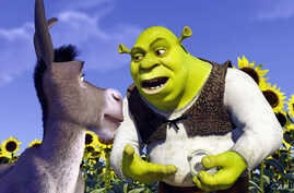 A scene from the animated film Shrek, which was presented at the 54th International Cannes Film Festival, May 12, 2001, and was the first animated film to compete for the Palme d'Or since 1953.