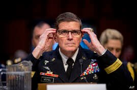 U.S. Central Command Commander Gen. Joseph Votel testifies before a Senate Armed Services Committee hearing on Capitol Hill, Feb. 5, 2019, in Washington.