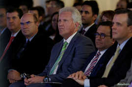 General Electric Co. Chief Executive Jeff Immelt (center) and Mexican Economy Minister Ildefonso Guajardo (second right) attend the opening of a new tower of the Global Operations Center in San Pedro Garza Garcia, neighboring Monterrey, Mexico, May 1...