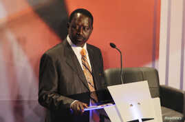 Kenyan Prime Minister and presidential candidate Raila Odinga attends the second presidential debate at Brookhouse School in Kenya's capital Nairobi, Feb. 25, 2013.