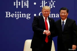U.S. President Donald Trump and China's President Xi Jinping meet at the Great Hall of the People in Beijing, Nov. 9, 2017.