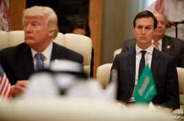 White House senior adviser Jared Kushner, right, looks on during a meeting between U.S. President Donald Trump, left, and leaders at the Gulf Cooperation Council Summit, at the King Abdulaziz Conference Center, in Riyadh, Saudi Arabia, May 21, 2017. ...