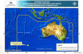 A diagram showing the search area for Malaysia Airlines Flight MH370 in the southern Indian Ocean is seen during a briefing by John Young, general manager of the emergency response division of the Australian Maritime Safety Authority, March 20, 2014.