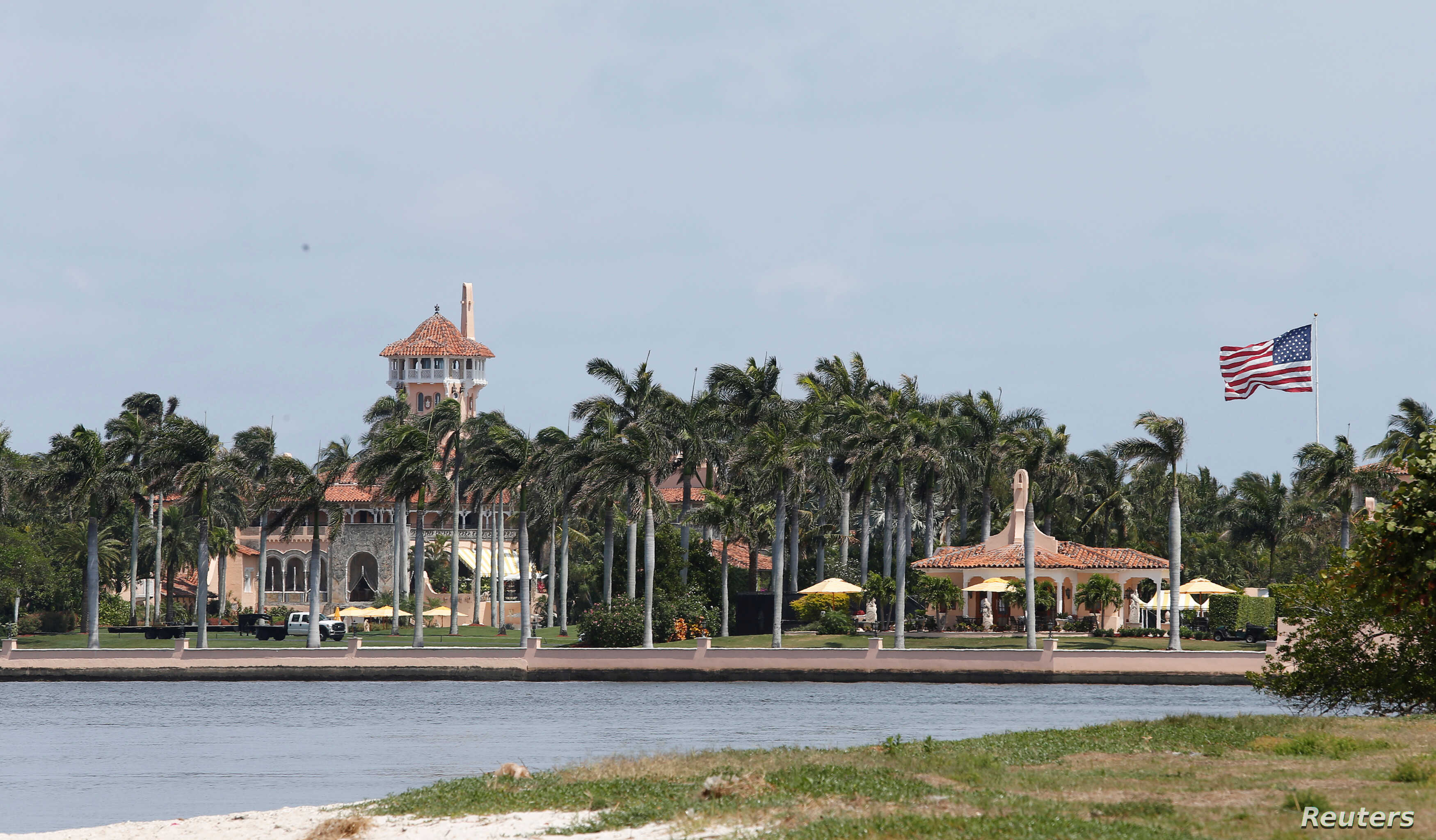The Mar-a-Lago estate owned by U.S. President Donald Trump is shown with a U.S. flag in Palm Beach, Florida, April 5, 2017.