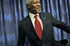 FILE - U.N. Secretary-General Kofi Annan leaves a press conference at United Nations headquarters in New York, Dec. 19, 2006.