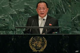 North Korea Minister for Foreign Affairs Ri Yong Ho speaks during the 72nd session of the United Nations General Assembly, at United Nations headquarters, Sept. 23, 2017.