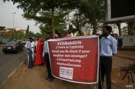 Members of the 'Bring Back Our Girls' group hold a rally in Abuja, Nigeria, April 11, 2017. (C.Oduah/VOA)