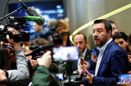 Matteo Salvini, Italy's Deputy Prime Minister and leader of the far-right League Party, speaks to the media after launching the start of his campaign for the European elections, in Milan, Italy, April 8, 2019.