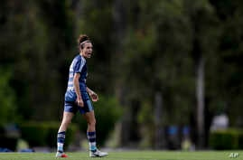 FILE - Argentina's national female soccer team forward Belen Potassa is seen during a training session in Buenos Aires, Argentina, Oct. 25, 2018.