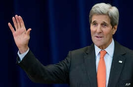 U.S. Secretary of State John Kerry speaks at the 30th annual Overseas Security Advisory Council briefing at the State Department in Washington, Nov. 18, 2015.