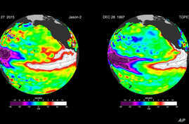 These false-color images provided by NASA satellites compare warm Pacific Ocean water temperatures from the strong El Nino that brought North America large amounts of rainfall in 1997, right, and the current El Nino as of Dec. 27, 2015, left. NASA's