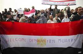 Anti-government protesters demonstrate in Tahrir, or Liberation Square in Cairo,  February 01, 2011