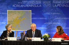 South Korean Minister of Foreign Affairs Kang Kyung-wha, U.S. Secretary of State Rex Tillerson and Canada's Minister of Foreign Affairs Chrystia Freeland attend the Foreign Ministers' Meeting on Security and Stability on the Korean Peninsula in V...
