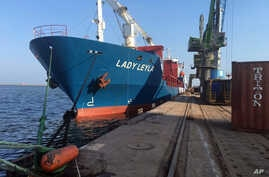 Lady Leyla, a Turkish ship ready to carry humanitarian aid to Gaza following a reconciliation agreement that Turkey reached with Israel, is docked at Mersin port, Turkey, July 1, 2016.