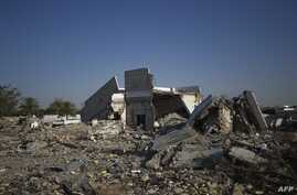 View of the destroyed compound of former Libyan leader Moammer Gadhafi in Tripoli's Bab al-Aziziya, June 2, 2012.