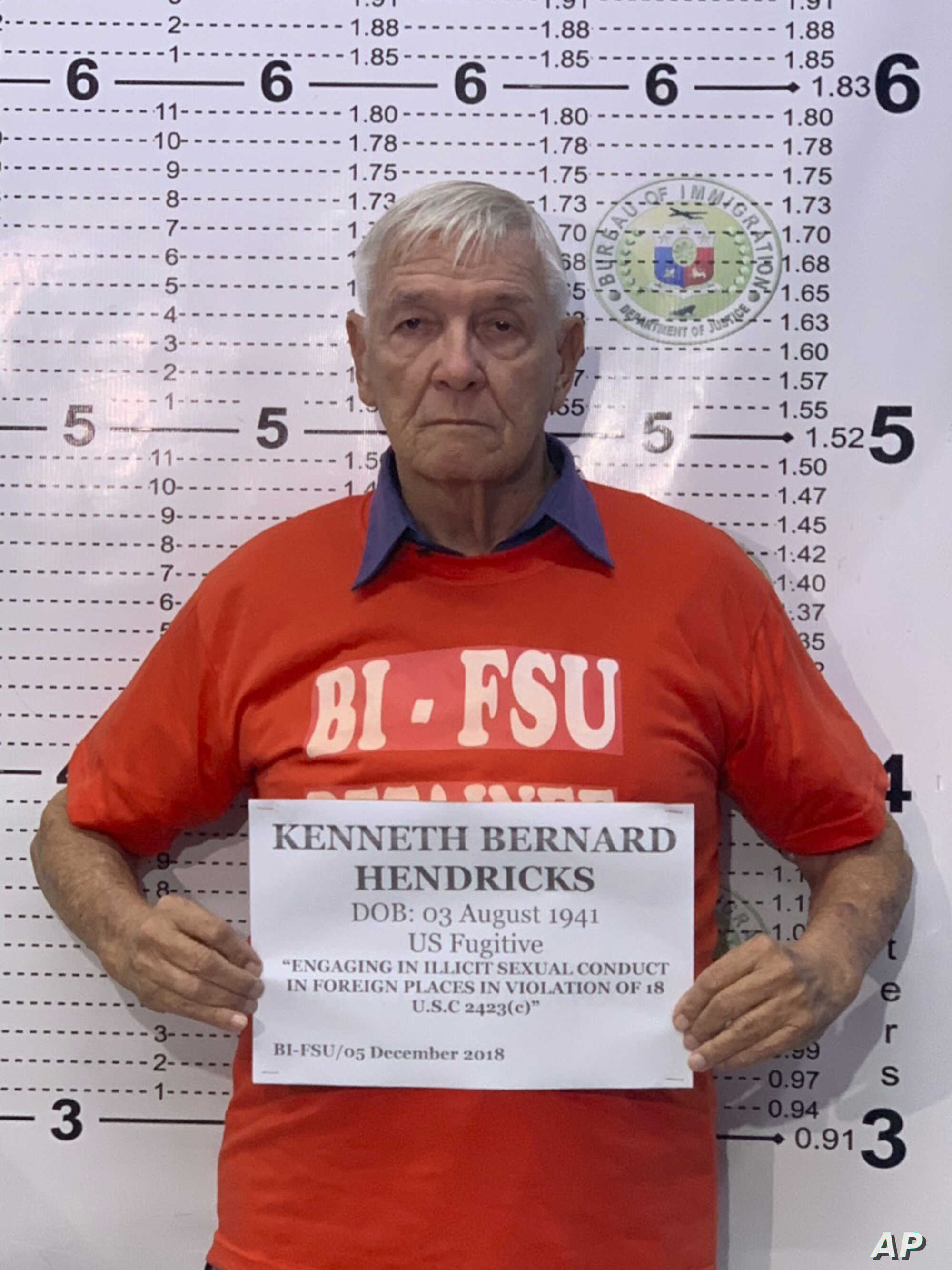 The Rev. Kenneth Bernard Hendricks poses for a mugshot at the Bureau of Immigration in Manila, Dec. 5, 2018. Hendricks, an American, has been accused of multiple counts of sexual abuse.