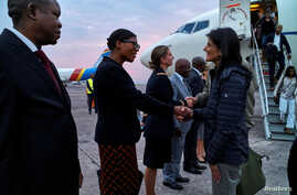 U.S. Ambassador to the United Nations Nikki Haley is received upon arriving at the N'Djili International Airport in Kinshasa, Democratic Republic of Congo, Oct. 25, 2017.