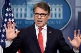 Energy Secretary Rick Perry speaks during the daily briefing at the White House in Washington, June 27, 2017.