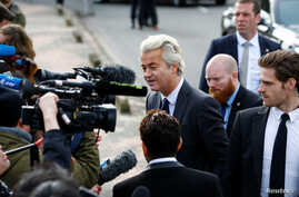 Dutch far right Party for Freedom (PVV) leader Geert Wilders speaks to the press during his campaign for the 2017 Dutch election in Amsterdam, The Netherlands, March 5, 2017.