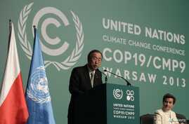 U.N. Secretary General Ban Ki-moon delivers speech at the Convention on Climate Change, Warsaw, Nov. 19, 2013.