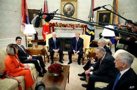 President Donald Trump accompanied by Vice President Mike Pence, meets with congressional leaders including House Minority Leader Nancy Pelosi of Calif., left, House Speaker Paul Ryan of Wis., Senate Majority Leader Mitch McConnell of Ky., Senate Min