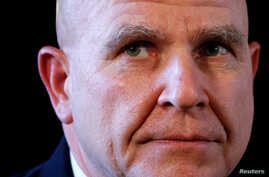 Newly appointed National Security Adviser Army Lt. Gen. H.R. McMaster listens as U.S. President Donald Trump makes the announcement at his Mar-a-Lago estate in Palm Beach, Florida U.S. Feb. 20, 2017.