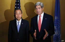 U.S. Secretary of State John Kerry, right, and U.N. Secretary General Ban Ki-Moon make statements to reporters in Cairo, Egypt, July 21, 2014.