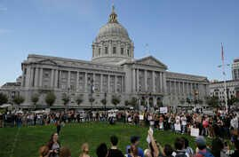 California high school students gather to protest in opposition of Donald Trump's presidential election victory outside of City Hall in San Francisco, Thursday, November 10, 2016.