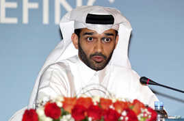 FILE - Hassan Al Thawadi, head of the Qatar 2022 World Cup organizing committee speaks during a press conference, in Doha, Thursday, Feb 25, 2015.