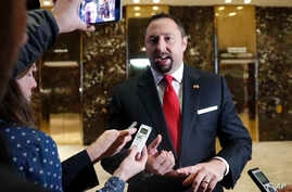 Jason Miller, a senior adviser to President-elect Donald Trump, speaks to media at Trump Tower, Nov. 16, 2016, in New York.