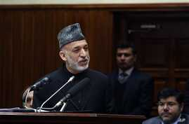 Afghan President Hamid Karzai during final address to parliament Kabul, March 15, 2014.