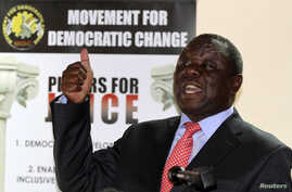 Zimbabwe opposition party Movement For Democratic Change (MDC) leader Morgan Tsvangirai addresses a news conference in Harare Sept. 18, 2013.