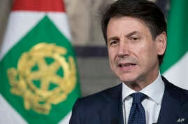 Giuseppe Conte addresses the media at the Quirinale presidential palace in Rome, May 31, 2018. Italy's president has tapped law professor Giuseppe Conte to be Italy's next premier heading Italy's first populist government.