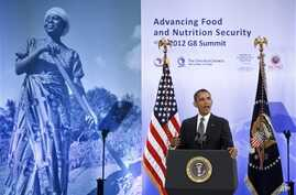 President Barack Obama joins African leaders, aid organizations to address African hunger, poverty, Washington, May 18, 2012.