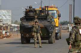 French soldiers are seen on patrol in Bangui on Dec. 25, 2013.