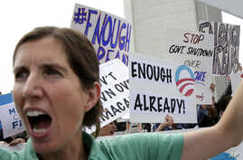 Vicki Maturo, of Culver City, Calif., chants during a protest against the government shutdown outside the federal building in Los Angeles, Oct. 2, 2013.