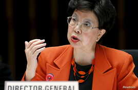 World Health Organization Director-General Margaret Chan addresses the delegates during the WHO Executive Board meeting in Geneva, Switzerland, Jan. 25, 2016.