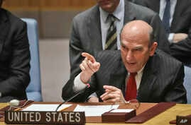 U.S. Special Representative for Venezuela Elliott Abrams points towards Russia's United Nations Ambassador during a tense exchange at a meeting on Venezuela in the U.N. Security Council at U.N. headquarters, Feb. 26, 2019.