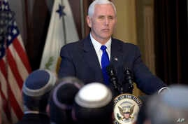Vice President Mike Pence speaks in the Indian Treaty Room in the Eisenhower Executive Office Building at the White House complex in Washington, May 2, 2017, during a ceremony commemorating Israeli Independence Day.