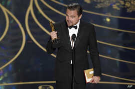 "Leonardo DiCaprio accepts the award for best actor in a leading role for ""The Revenant"" at the Oscars, Feb. 28, 2016, at the Dolby Theatre in Los Angeles. DiCaprio mentioned the issue of climate change during his speech."