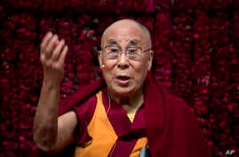"Tibetan spiritual leader the Dalai Lama speaks on ""Reviving Indian Wisdom in Contemporary India' at a public event in New Delhi, India, Feb. 5, 2017."