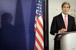US Secretary of State John Kerry speaks during a press conference at the Council of Ministers building during a visit to Sofia, Bulgaria, Jan. 15, 2015.