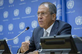 Russia's foreign minister Sergey Lavrov speaks at a news conference during the 69th United Nations General Assembly at U.N. headquarters, Sept. 26, 2014.