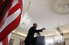President Barack Obama delivers his Middle East speech at the State Department in Washington, May 19, 2011.
