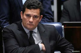 Brazilian federal judge Sergio Moro reacts during a session at the Federal Senate in Brasilia, Brazil, Dec. 1, 2016.