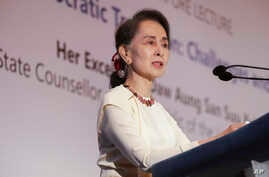 "Myanmar's leader Aung San Suu Kyi delivers a lecture titled ""Myanmar's Democratic Transition: Challenges and Way Forward"" at the 43rd Singapore Lecture organized by the Institute of South East Asian Studies or ISEAS Yusof Ishak Institute, Aug. 21, 20"