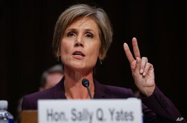 "Former acting Attorney General Sally Yates testifies on Capitol Hill in Washington, May 8, 2017, before the Senate Judiciary subcommittee on Crime and Terrorism hearing: ""Russian Interference in the 2016 United States Election."""