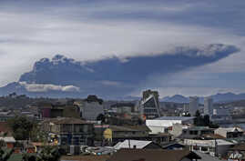 View of the Calbuco volcano from Puerto Montt, southern Chile, April 30, 2015.