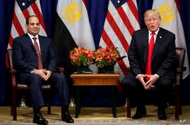 President Donald Trump speaks during a meeting with Egyptian President Abdel-Fattah el-Sissi at the Palace Hotel during the United Nations General Assembly, in New York, Sept. 20, 2017.