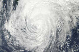 This October 15, 2013 NASA satellite image shows Typhoon Wipha off Japan.